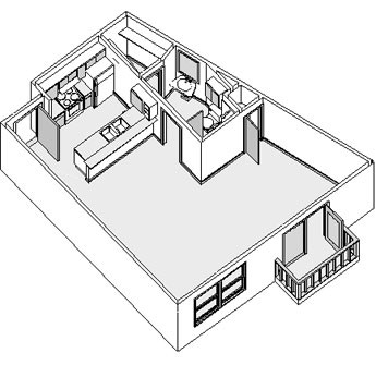 594 sq. ft. to 643 sq. ft. floor plan