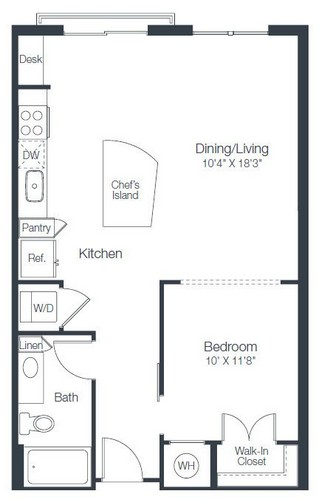 732 sq. ft. A1D floor plan