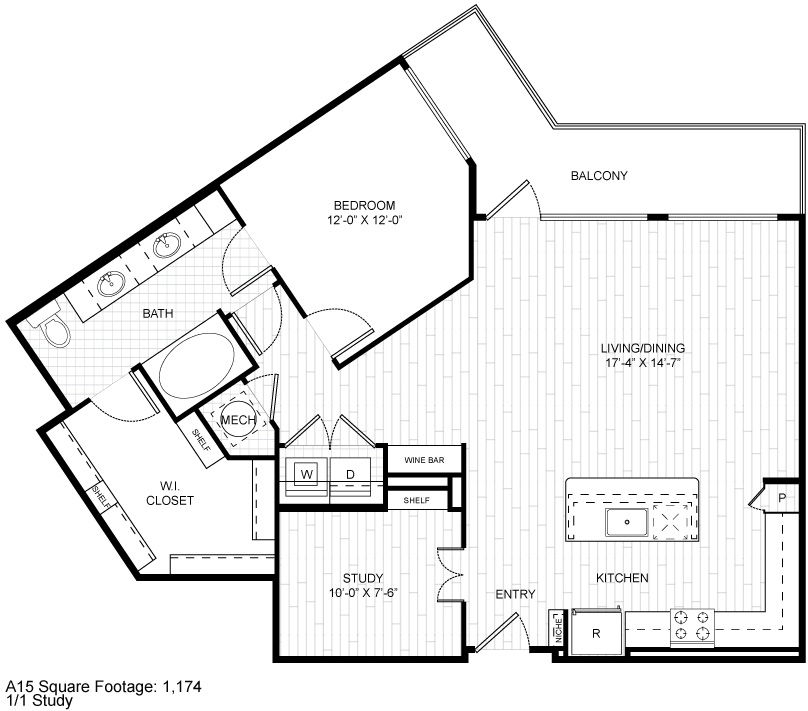 1,174 sq. ft. A15 floor plan