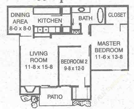 855 sq. ft. D floor plan