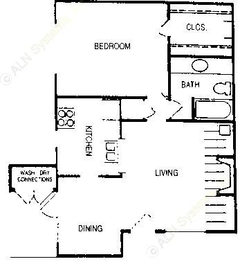 692 sq. ft. Diana floor plan