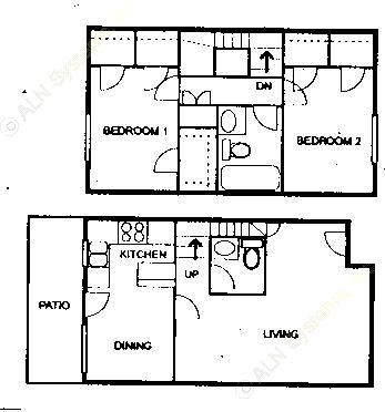 1,083 sq. ft. D floor plan