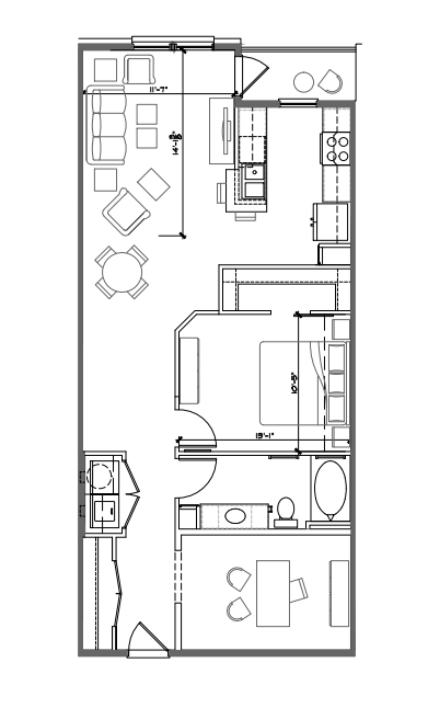 940 sq. ft. A5 floor plan