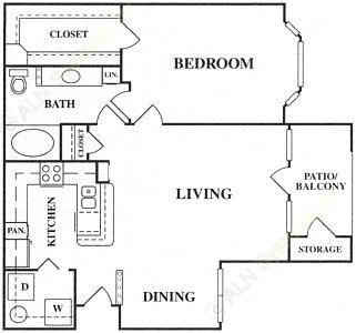 828 sq. ft. A3 floor plan