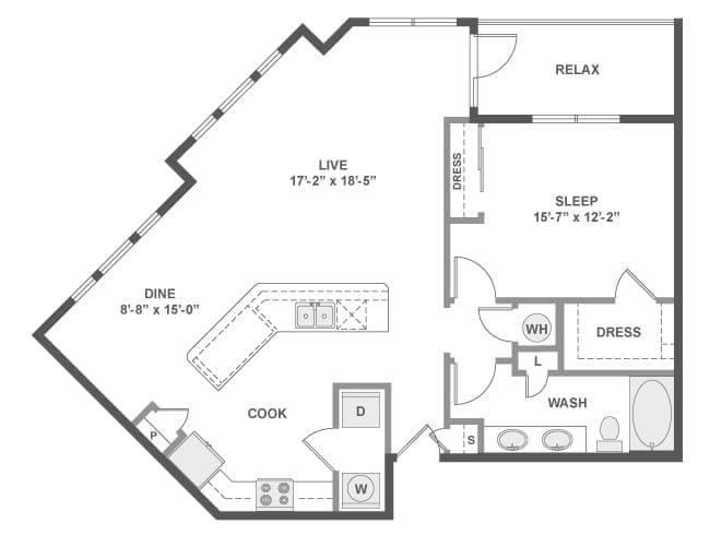 1,065 sq. ft. A6 floor plan