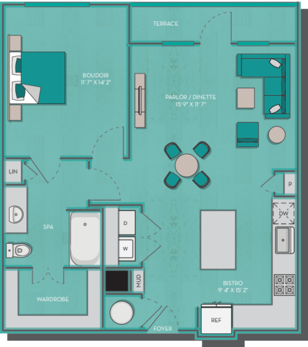 837 sq. ft. to 938 sq. ft. Bora Bora floor plan