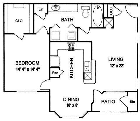 750 sq. ft. to 856 sq. ft. BERKLEY II floor plan