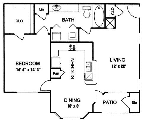 750 sq. ft. to 856 sq. ft. BERKLEY I floor plan