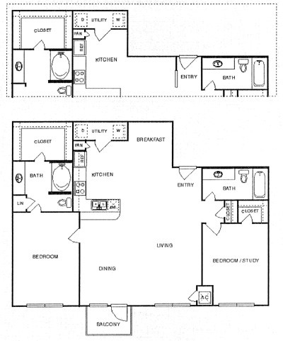 1,275 sq. ft. Tranquil floor plan