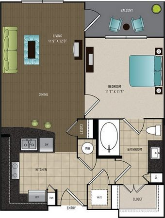 699 sq. ft. A2A floor plan
