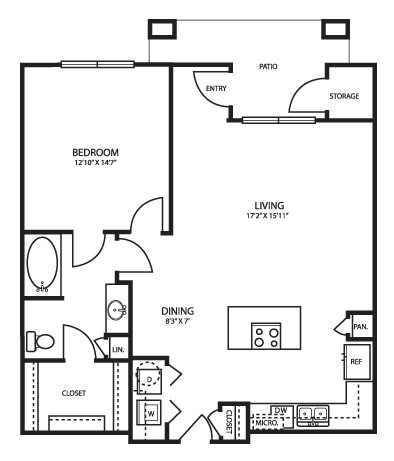 893 sq. ft. A3 Alt floor plan