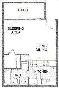 396 sq. ft. A floor plan