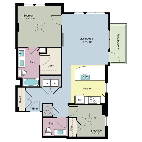 1,004 sq. ft. Leap (B1.5) floor plan