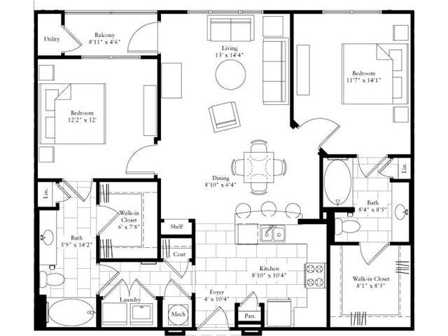 1,160 sq. ft. floor plan