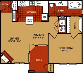 778 sq. ft. Vail (A2) floor plan