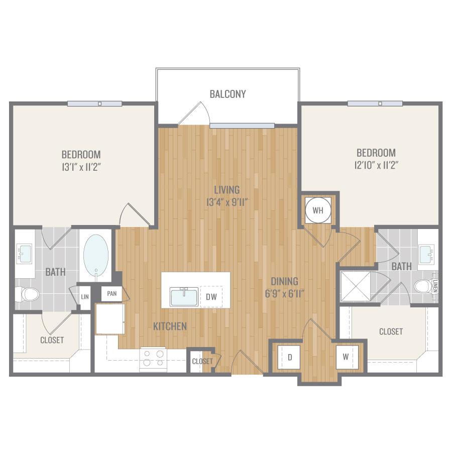1,044 sq. ft. B2 floor plan