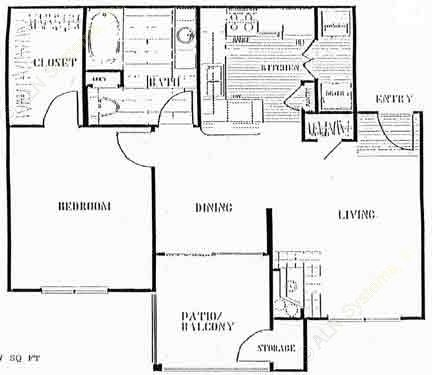 757 sq. ft. to 857 sq. ft. B floor plan