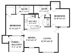 993 sq. ft. Landfall floor plan