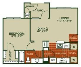 664 sq. ft. Buttercup-A1 50% floor plan