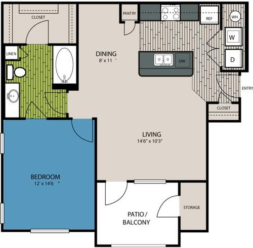 804 sq. ft. A4 floor plan