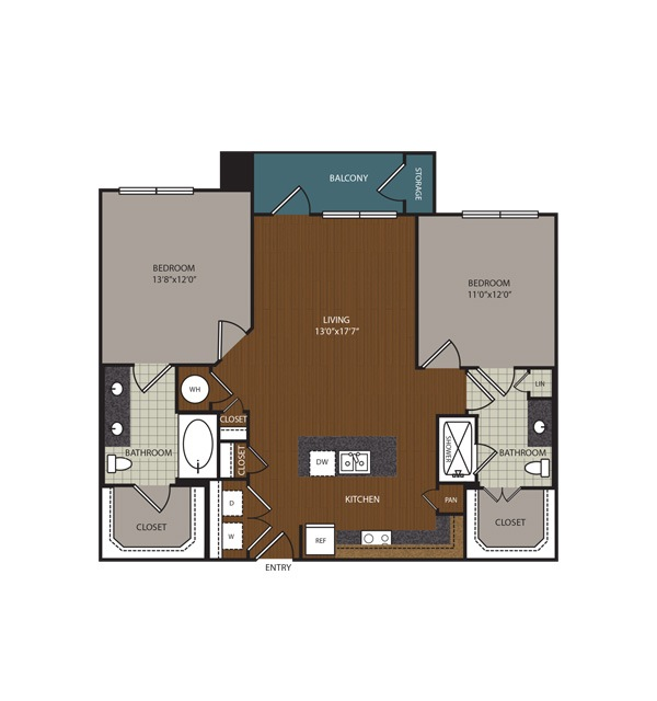 1,061 sq. ft. to 1,155 sq. ft. B1 floor plan
