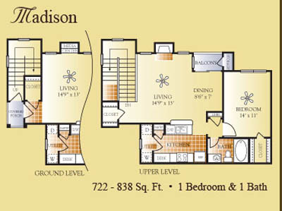 722 sq. ft. to 838 sq. ft. Madison floor plan