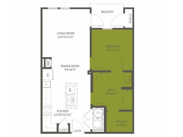 656 sq. ft. Concord/60% floor plan