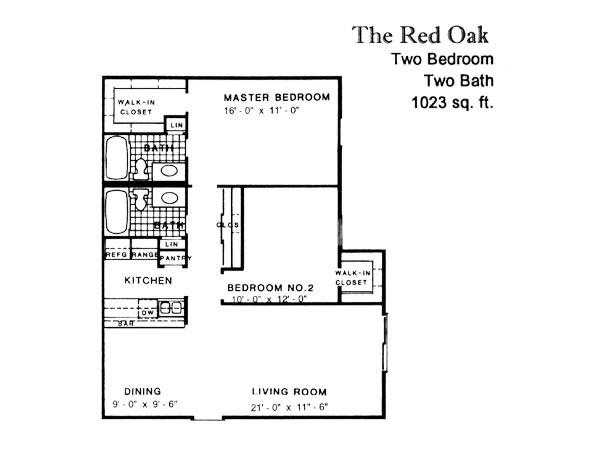1,023 sq. ft. RED OAK floor plan