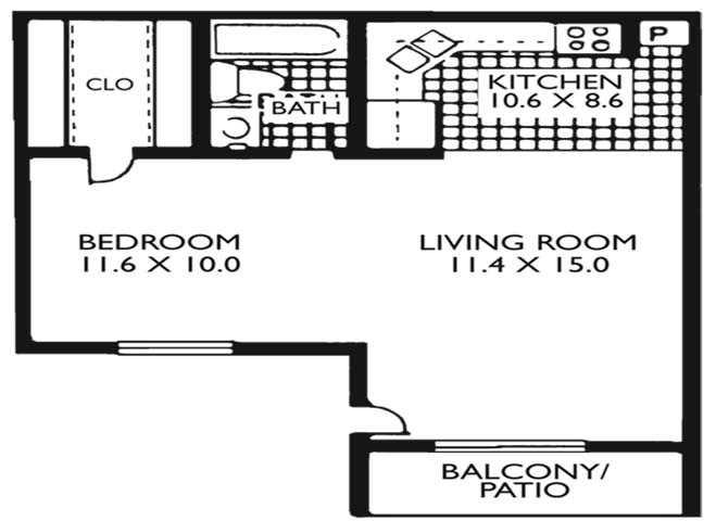 507 sq. ft. E1 floor plan
