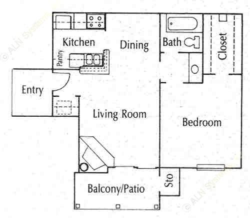596 sq. ft. 11A floor plan