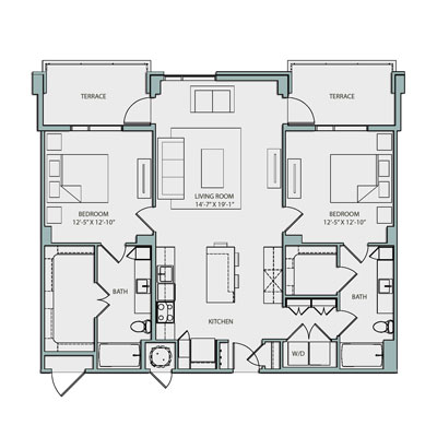 1,226 sq. ft. B1 floor plan