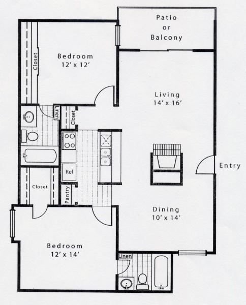 965 sq. ft. B2D floor plan