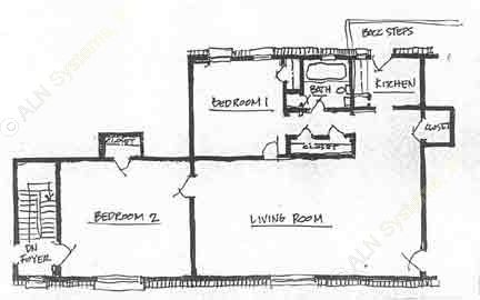 900 sq. ft. B-1 floor plan
