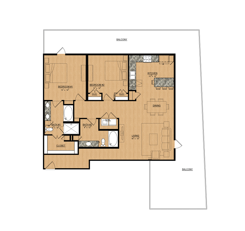 1,414 sq. ft. Primrose floor plan