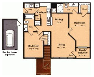 1,073 sq. ft. B1 floor plan
