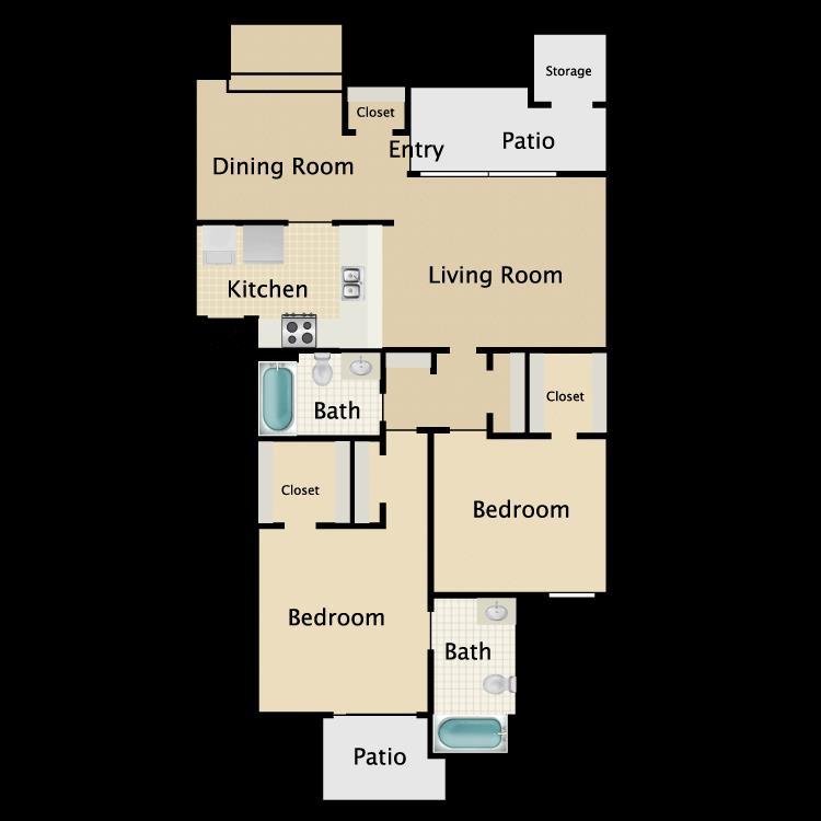 1,030 sq. ft. C4 floor plan