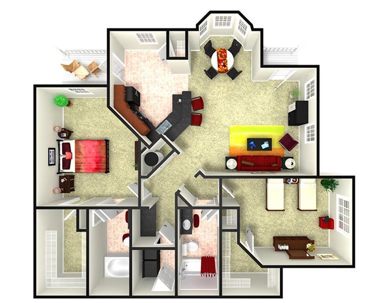 1,359 sq. ft. B2L floor plan