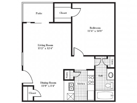 636 sq. ft. A2 floor plan