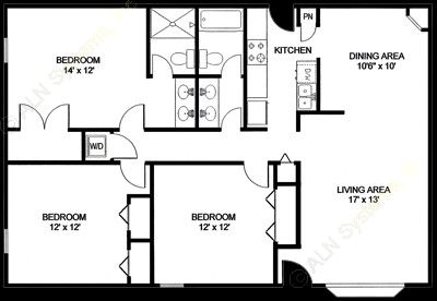 1,305 sq. ft. C4 floor plan