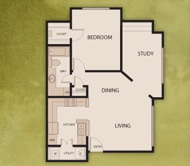 807 sq. ft. A1-S floor plan