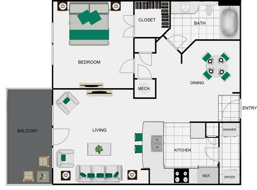 770 sq. ft. A6A floor plan