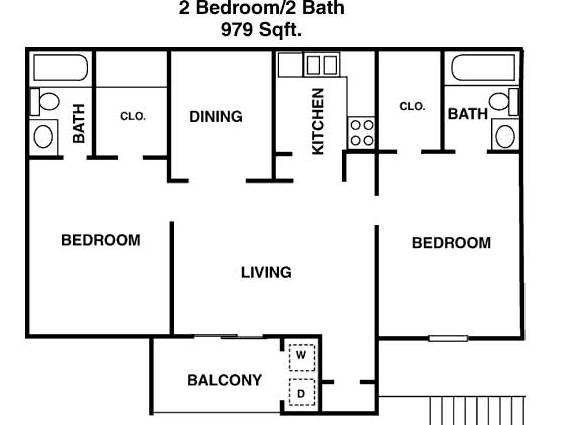 979 sq. ft. H floor plan