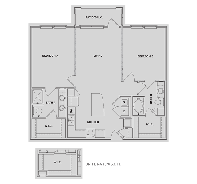 1,080 sq. ft. B1/B1-A floor plan