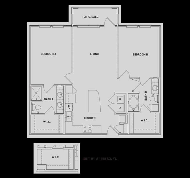 1,080 sq. ft. B1/B1-A floor plan