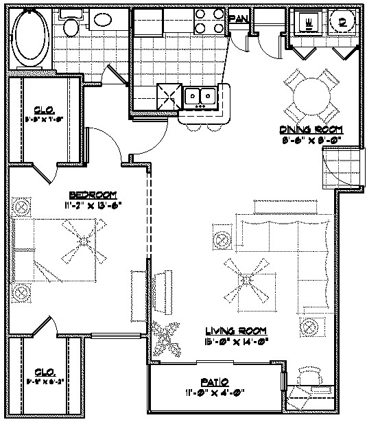 895 sq. ft. A3 floor plan