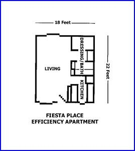 400 sq. ft. FURNISHED floor plan