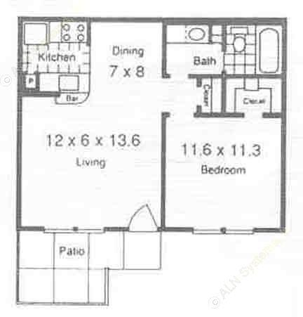 550 sq. ft. A2/A3 floor plan