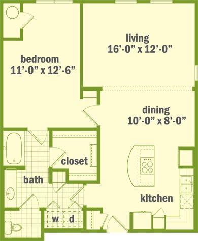 860 sq. ft. A2 floor plan