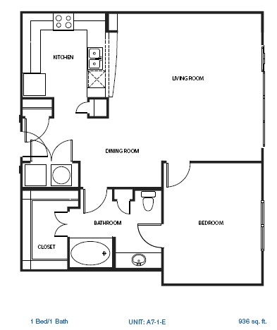 936 sq. ft. to 1,010 sq. ft. A7-1E floor plan