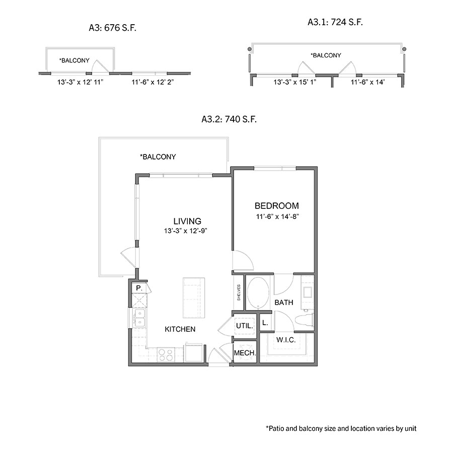 676 sq. ft. to 740 sq. ft. A3 floor plan